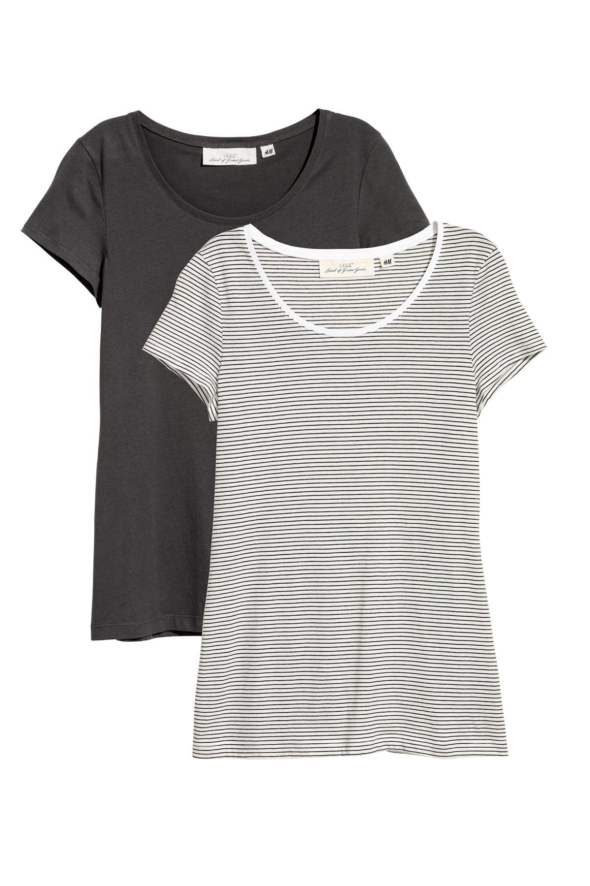 f5e5304e06 2-pack Short-sleeved Tops | Dark gray/striped | WOMEN | H&M US ...