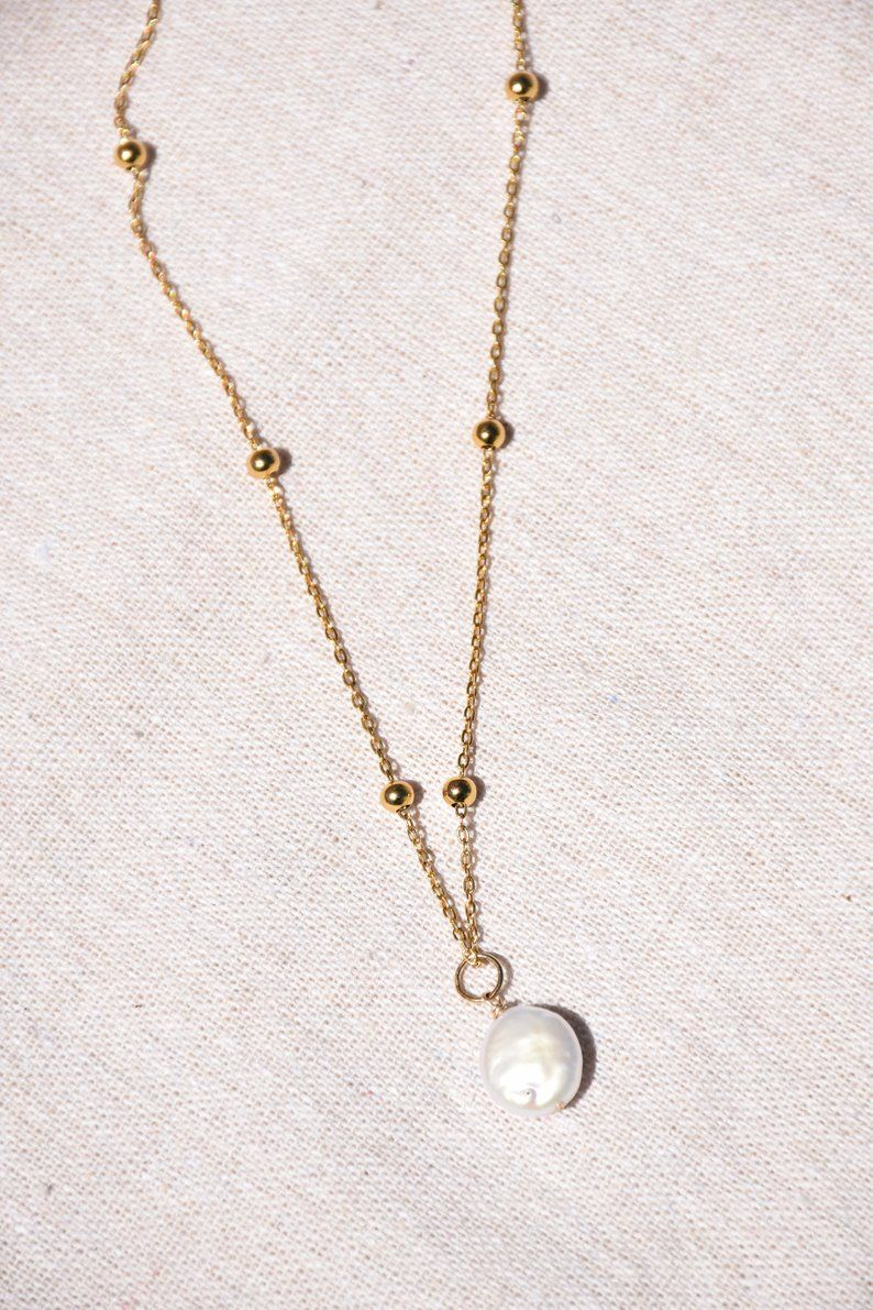 14K Solid or Blanc Freshwater Cultured Pearl et Diamond Papillon Pendentif