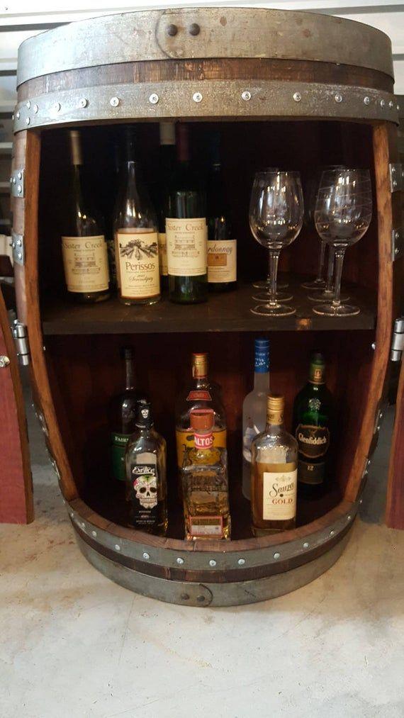 Wine Barrel Bar or Liquor with center shelf. LOCAL