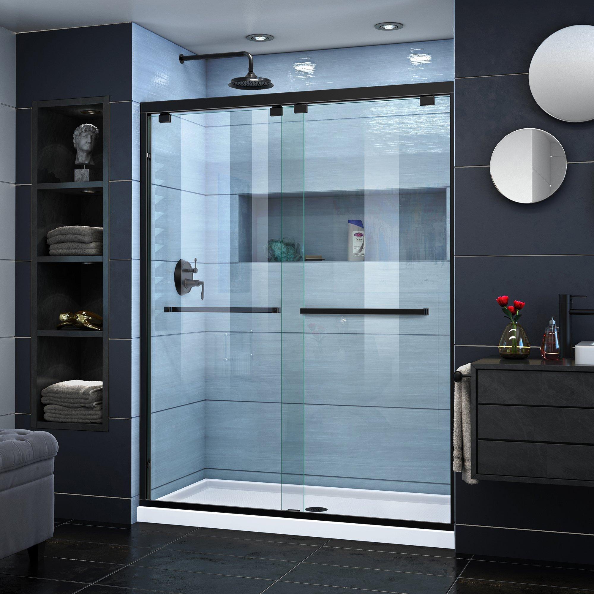 Encore Satin Black Semi Frameless Bypass Sliding Shower Door Shower Doors Frameless Sliding Shower Doors Bypass Sliding Shower Doors Semi frameless sliding shower door