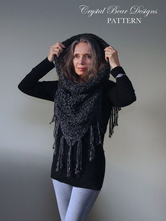 Hooded Cowl Crochet Pattern Mini Fringed Poncho Athena Hooded