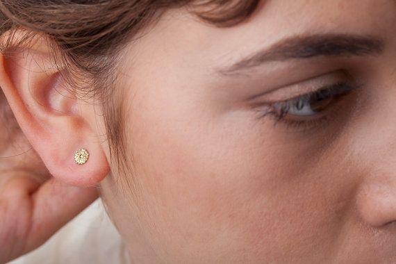 Earrings Gold Earrings Solid Gold Earrings Beaded by StudioMeme