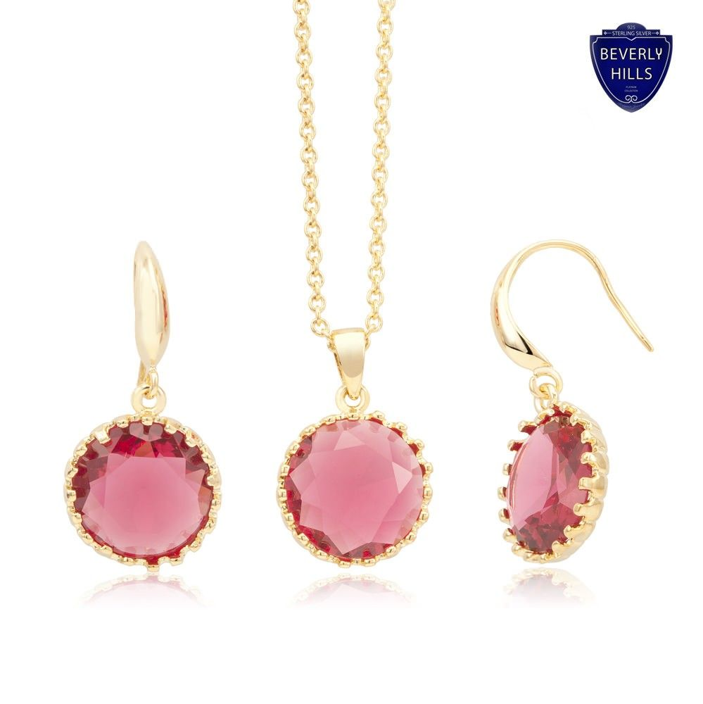 K yellow gold plated rose swarovski crystal elements earring and
