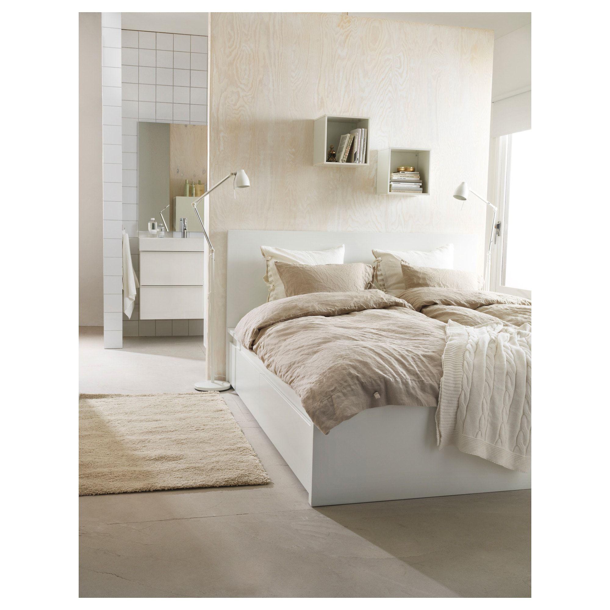 Malm High Bed Frame 2 Storage Boxes White Leirsund Full Malm