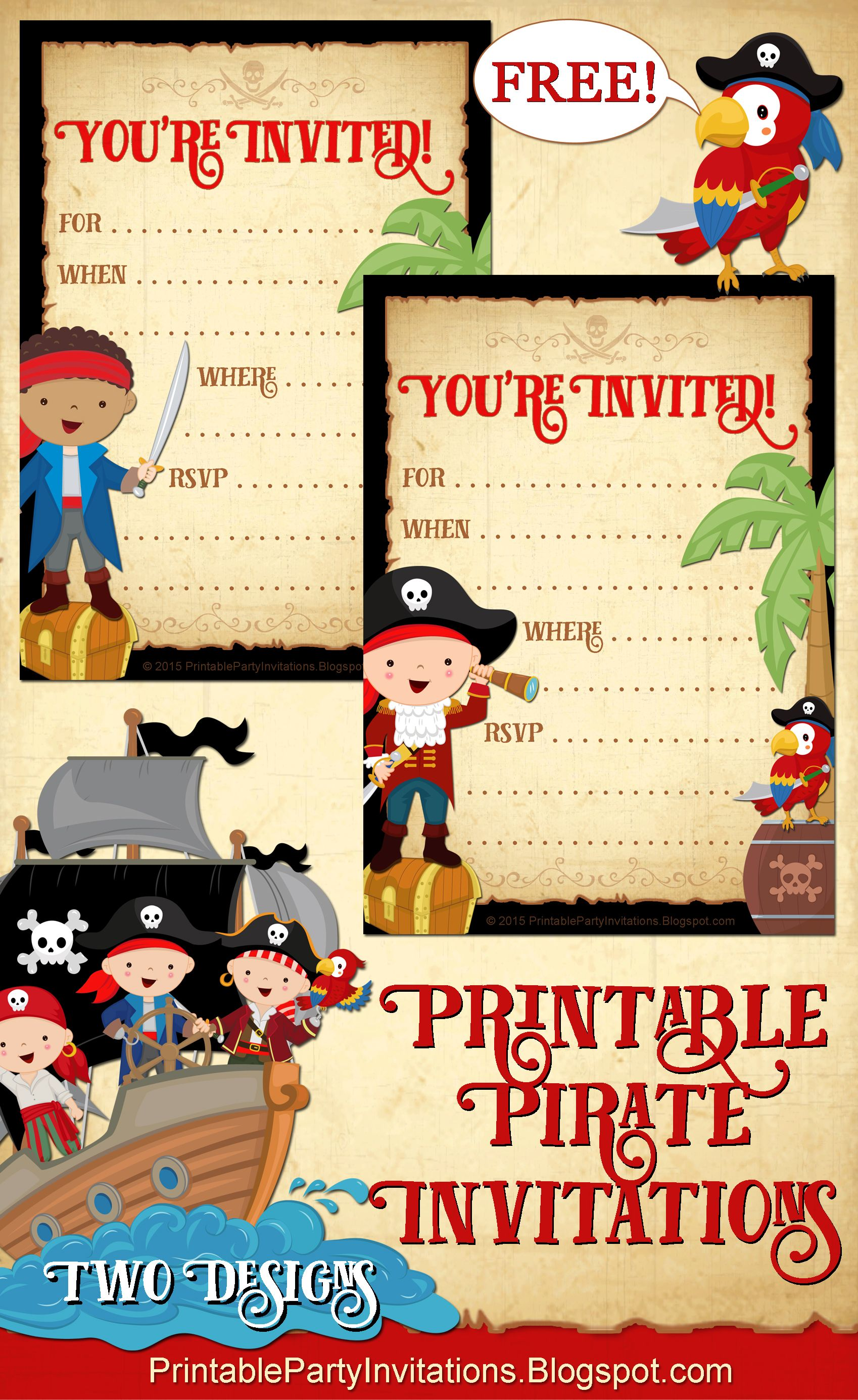 FREE Printable Pirate Party Invitations 2 Designs – Free Pirate Party Invitations