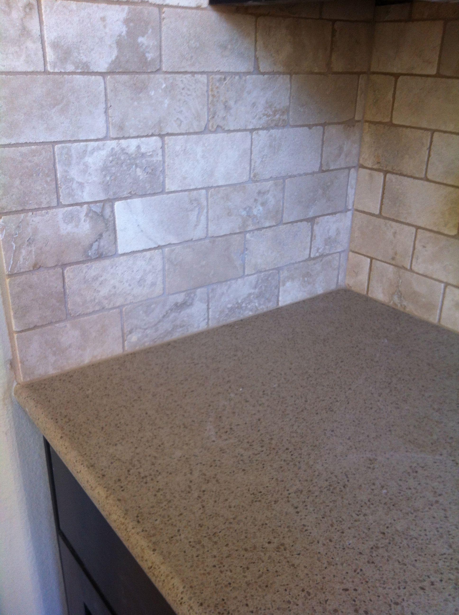 EMS Travertine Tile backsplash in beige. | Kitchen | Pinterest ...