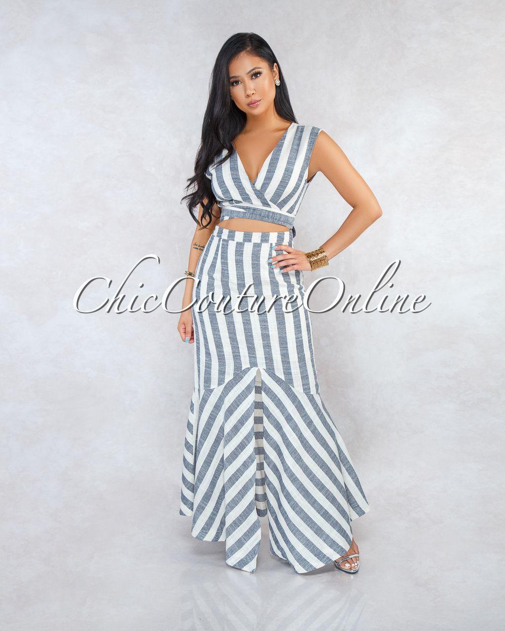 699485dc1d4 Chic Couture Online - Macy Taupe Black Stripes Front Tie Cut-Out Maxi Dress