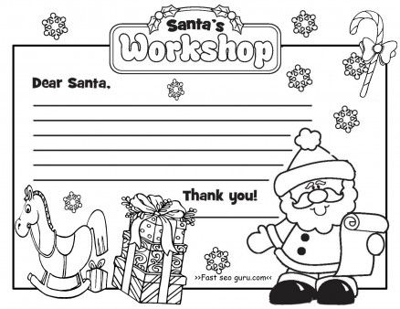 Printable Christmas Letter To Santa Claus Write Template