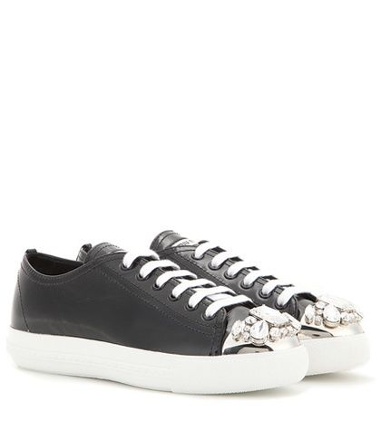 Miu Miu Embellished Patent Leather Sneakers For Spring-Summer 2017