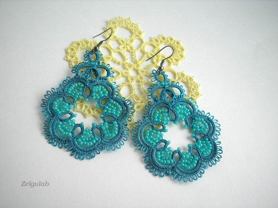 Teal Green tatted lace earrings  Jade   Aquamarine by Zelgulab, $20.00