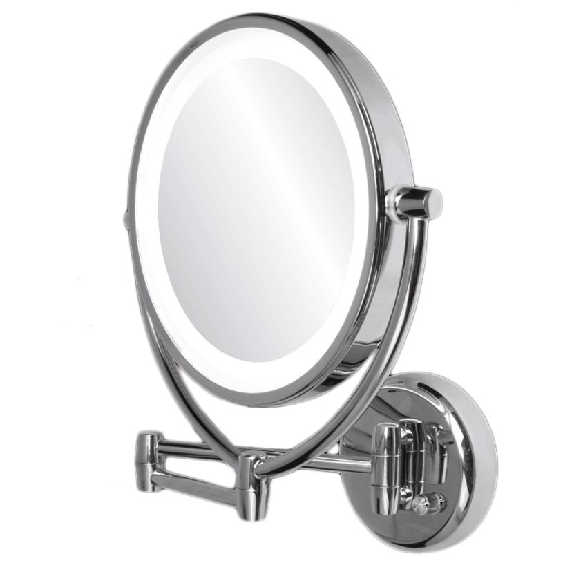 Ovente Wall Mounted Makeup Mirror 10x Polished Chrome Mlw45ch1x10x Multi Wall Mounted Makeup Mirror Wall Mounted Mirror Lighted Wall Mirror