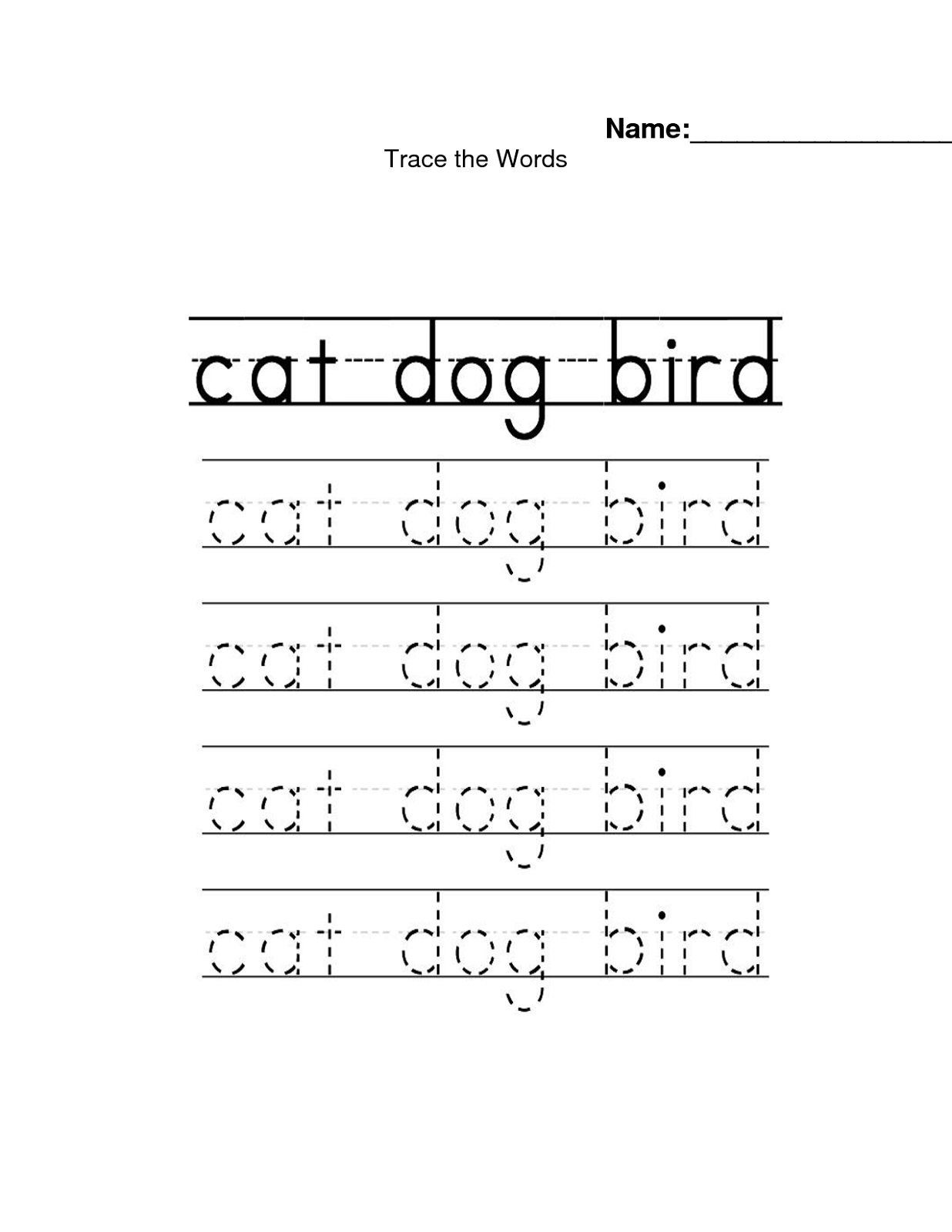 Trace The Words Worksheets In