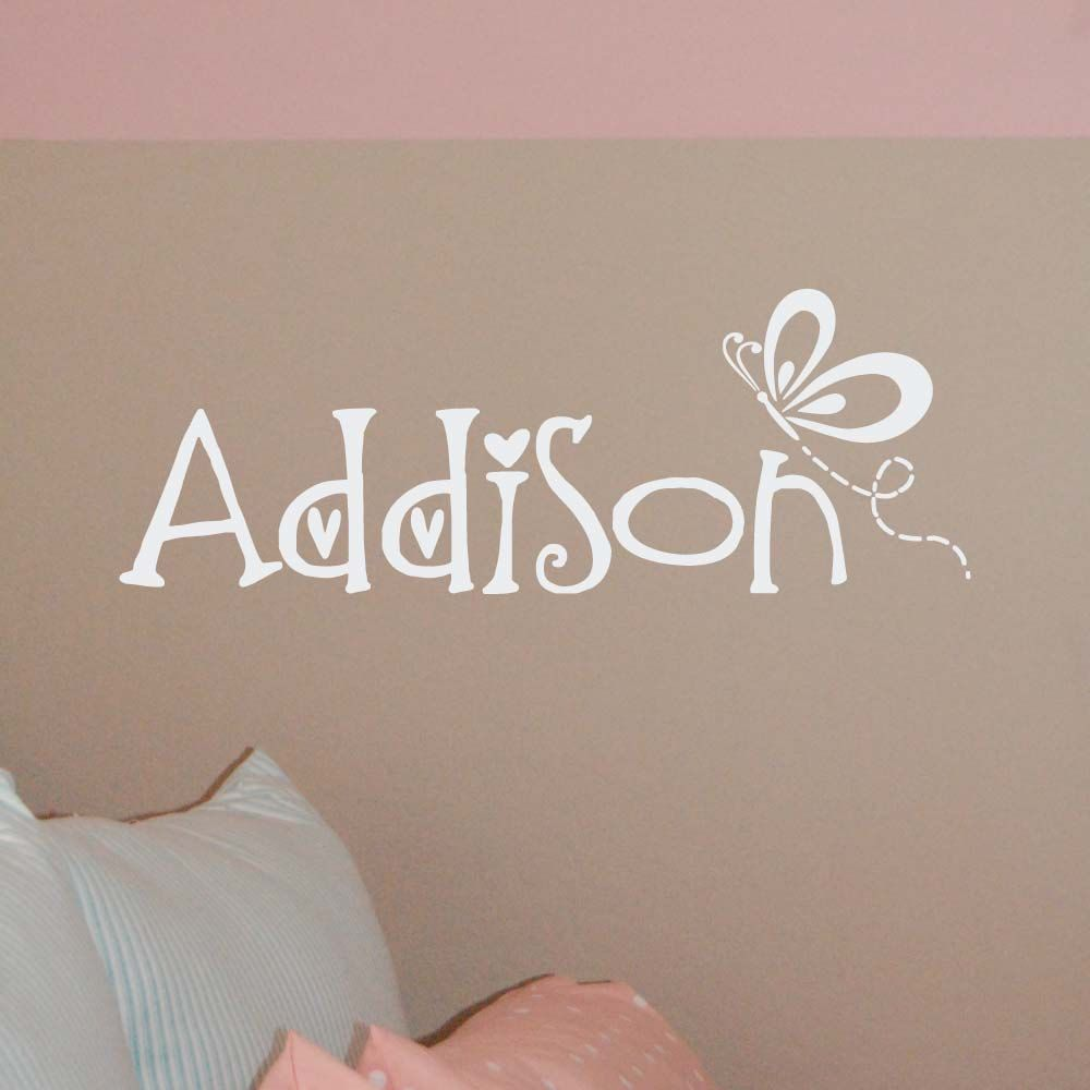 Butterfly name decal butterfly wall decal butterfly nursery decor
