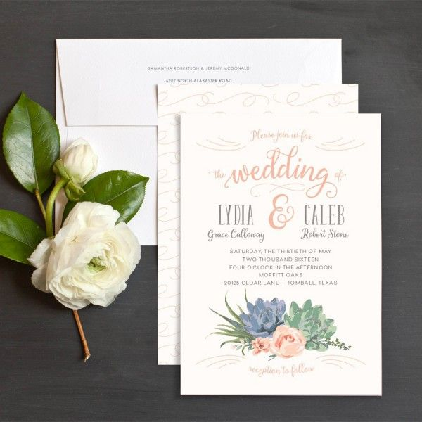 Succulents Wedding Invitations By Emily Crawford Elli