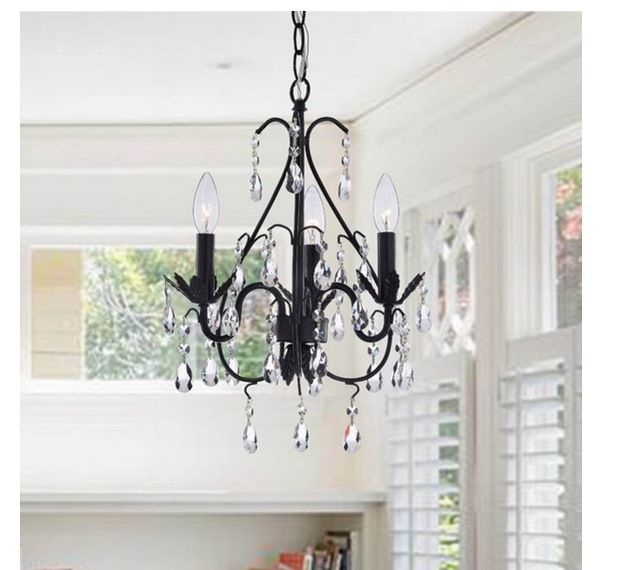 New 3 Light Small Antique Copper Crystal Chandelier Ceiling