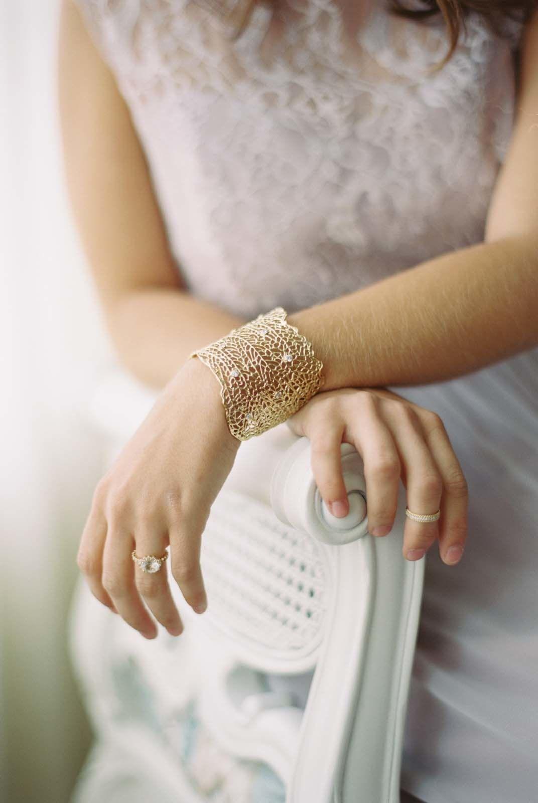 Bridesmaidsu tea at trump winery lace bracelet gold lace and