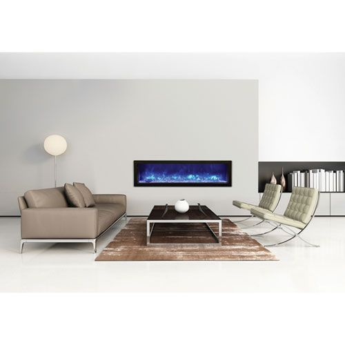 Panorama Black 60 Inch Slim Electric Fireplace by Amantii. All Models are rated for either indoor or outdoor use.