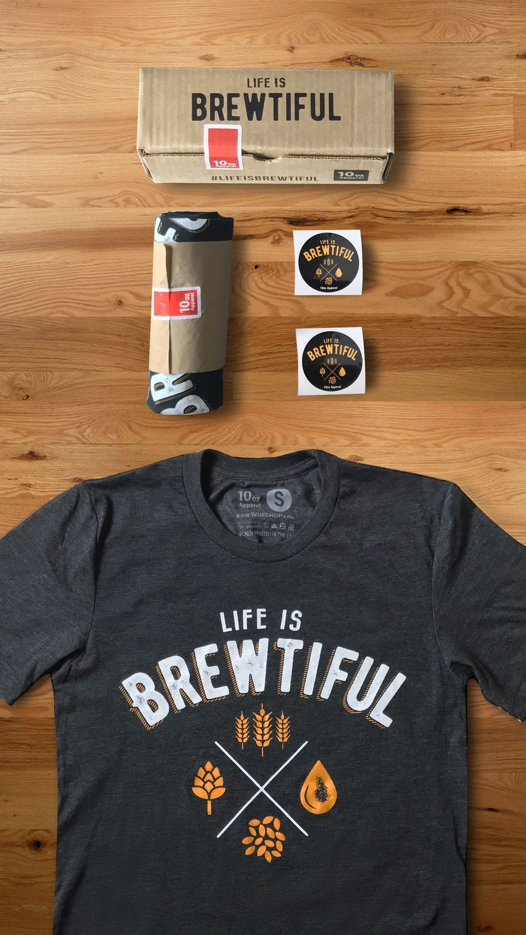 Life is Brewtiful t-shirt set. Comes with 2 stickers and branded box. Makes the perfect gift for someone who enjoys the craft beer lifestyle. Fitted Soft hand feel t shirt with vintage looking beer design screen printed.