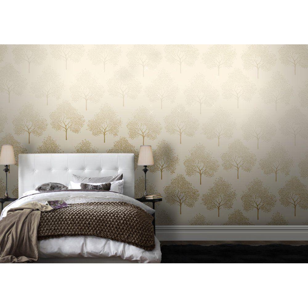 I Love Wallpaper Glitter Tree Wallpaper Cream Gold Glitter