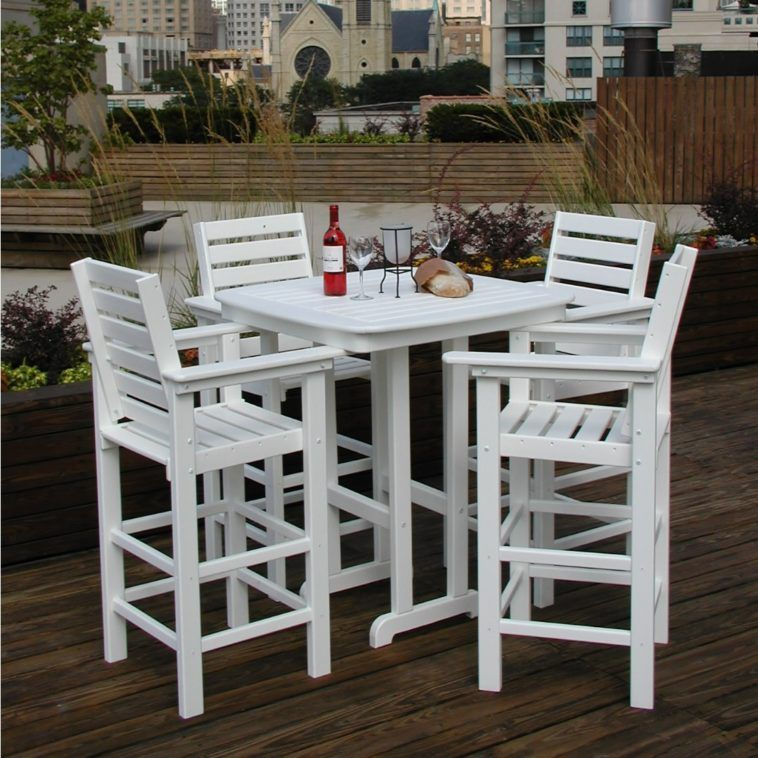 Furniture High Top Square White Outdoor Table With Four Matching