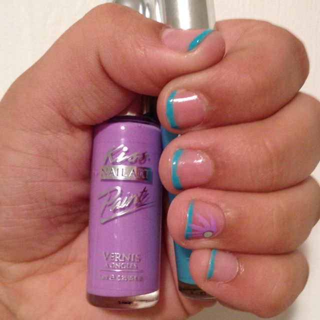 Free hand French tip with Kiss Nail Art Paint soft blue color an ...