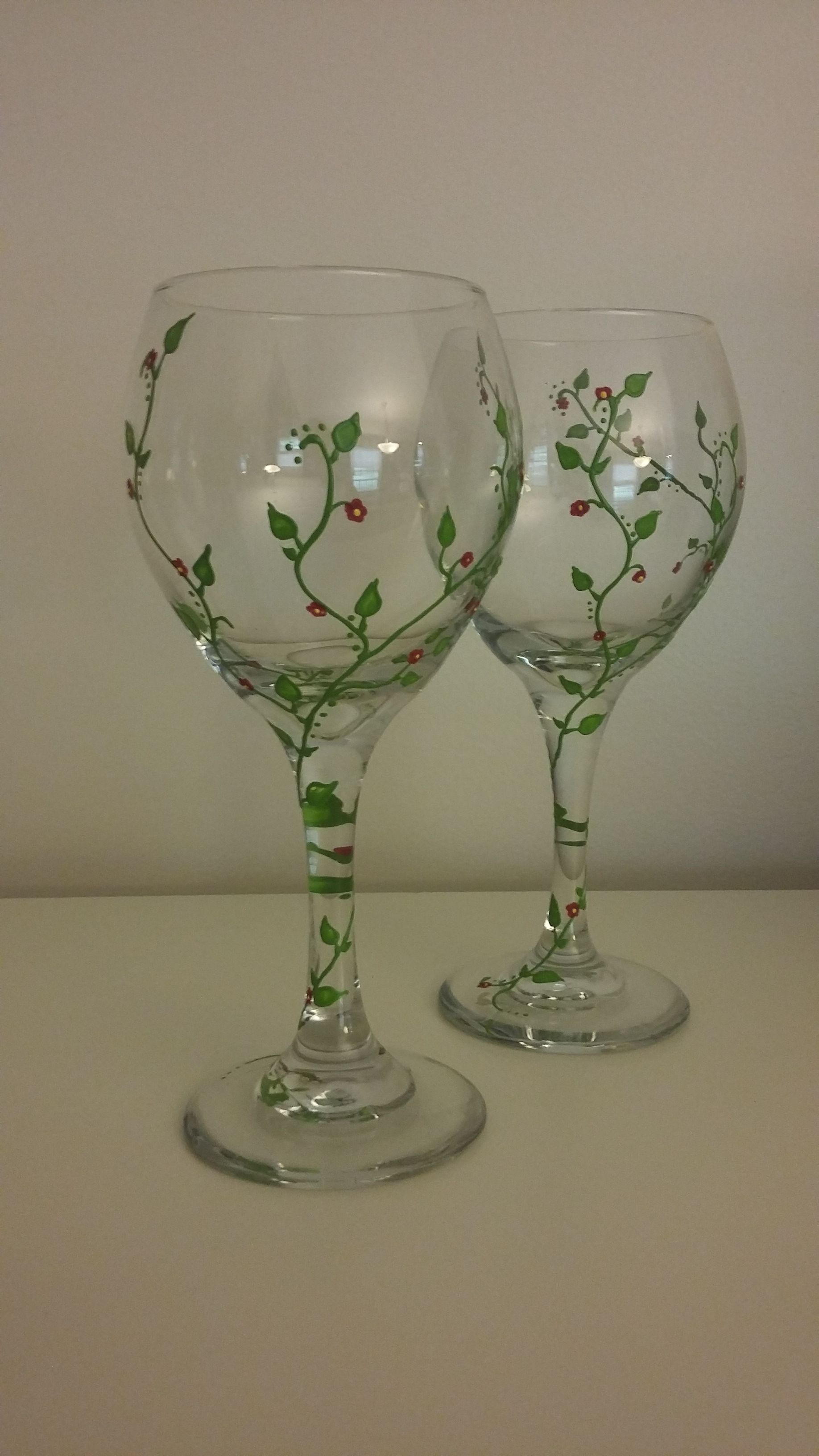 202e01f8495 Hand painted vine, with tiny red flowers, wine glasses. | Painted ...