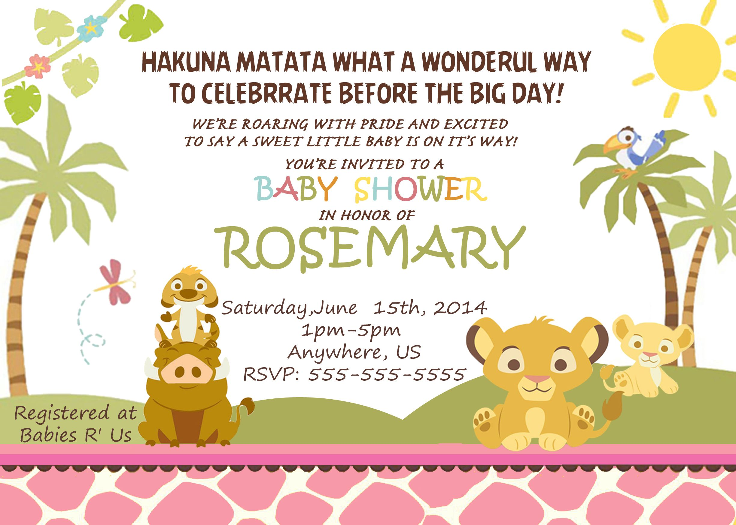 Pink Simba Lion King Baby Shower Invitations $8 99 available at