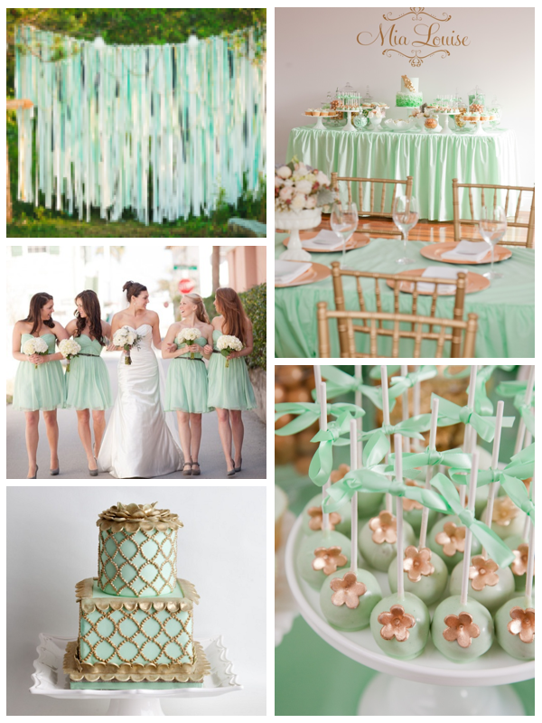 Mint And Gold Weddings Wedding Green Theme