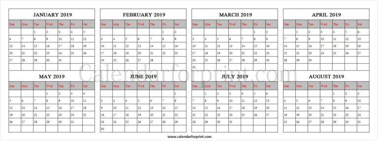 Jan 2019 to Aug 2019 Black Calendar Template January 2019 Calendar