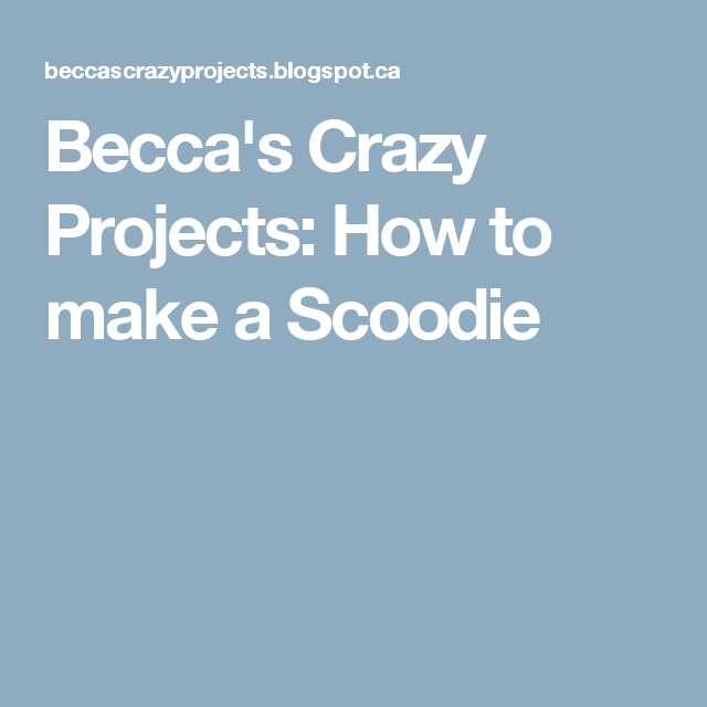 Becca's Crazy Projects: How to make a Scoodie