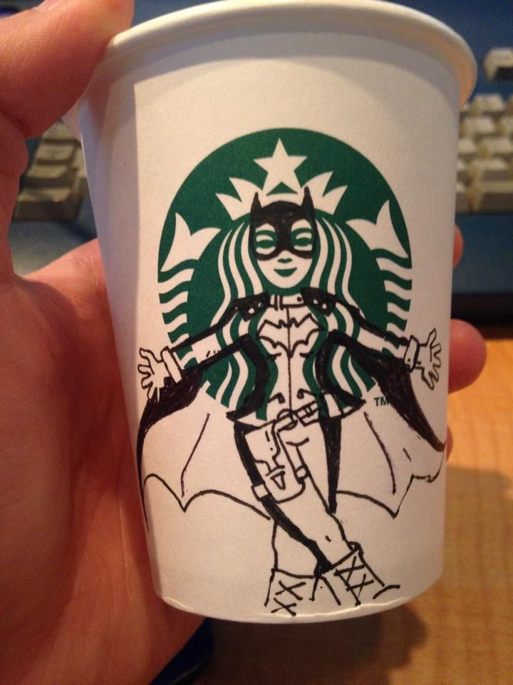 drawing on coffee cups at work