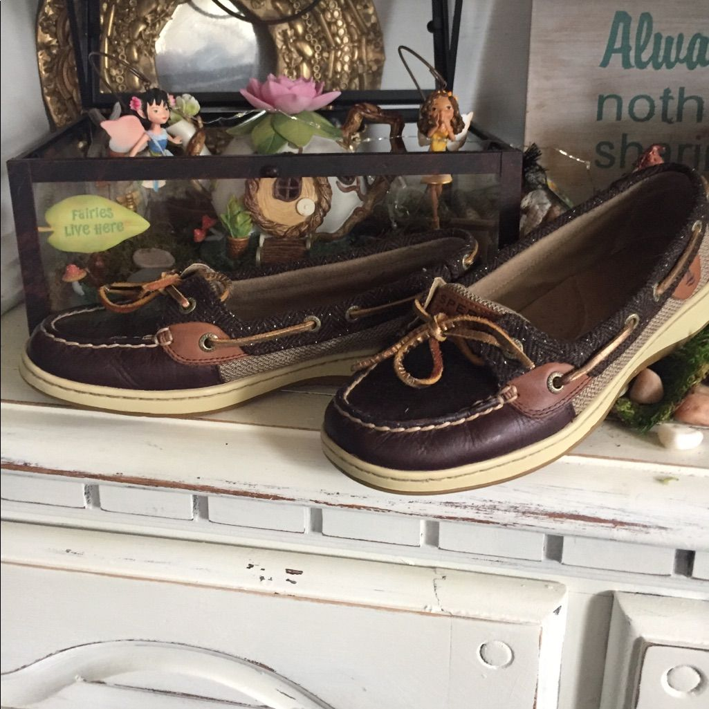 Brown Leather/Fabric Sperrys