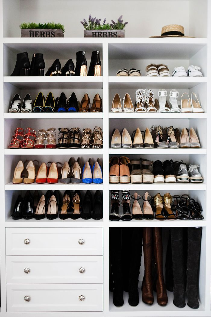A Stunningly Organized Shoe Closet With Custom Built In Shelving // 40 Shoe  Organizing Tips