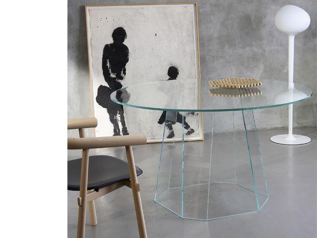 table cristall by v wilmotte table ronde transparente pour diner salon table 4 personnes en. Black Bedroom Furniture Sets. Home Design Ideas