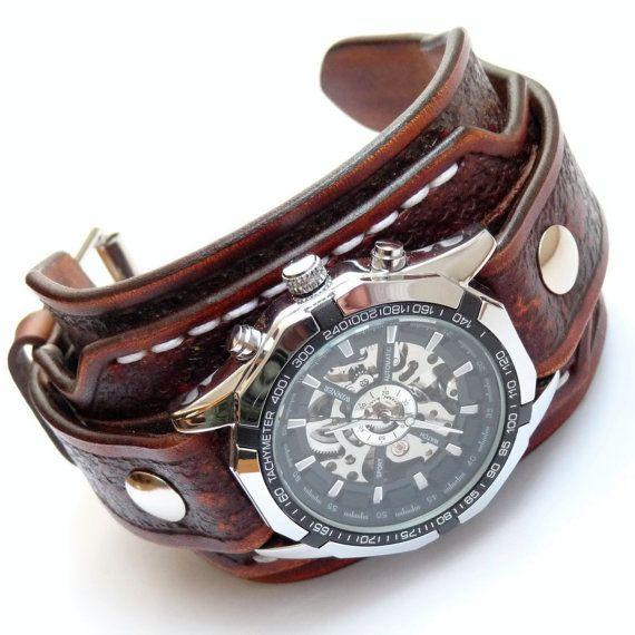 estilo exquisito clientes primero revisa Leather Cuff Watch, Vintage Brown Leather Cuff   Funda de ...