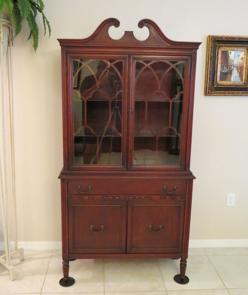 Antique Cherry China Cabinet Bernhardt