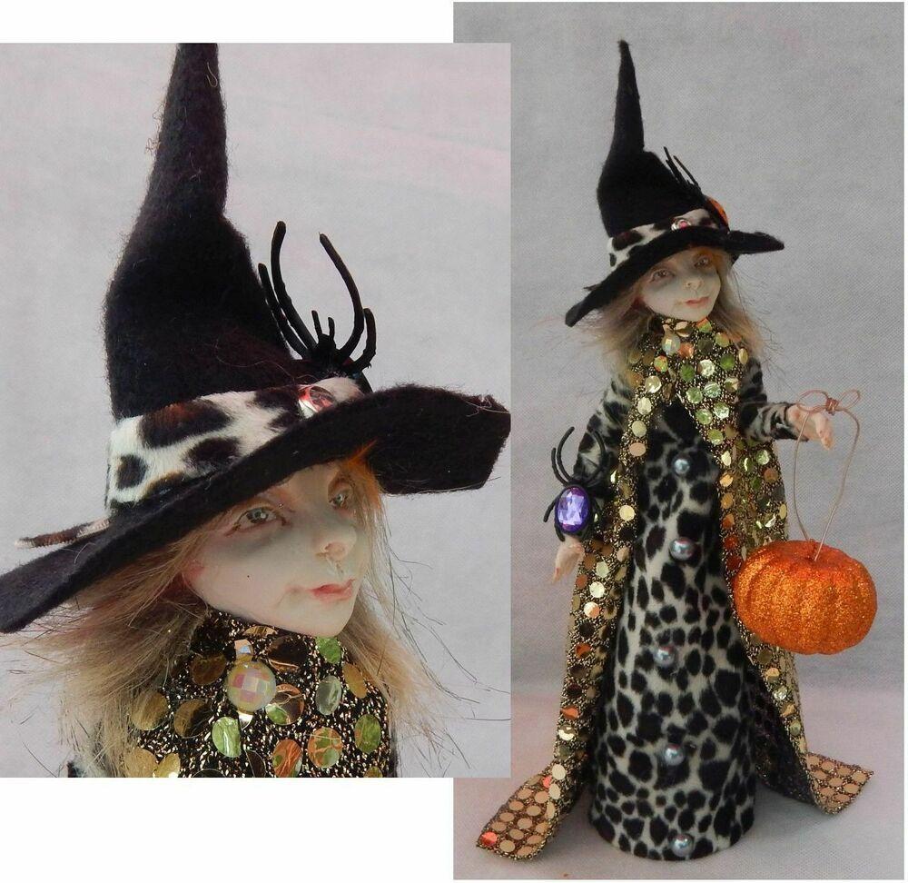 Witch OOAK Fairy Pumpkin Halloween Sculpture Handmade Fall
