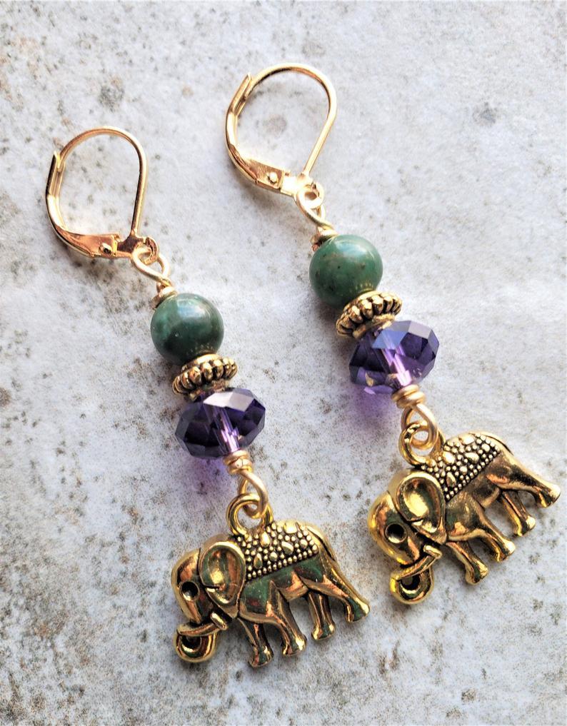 Photo of Jade, Purple Velvet Swarovski Crystal Briolette & Gold Tone Elephant Charm Earrings | Metaphysical G