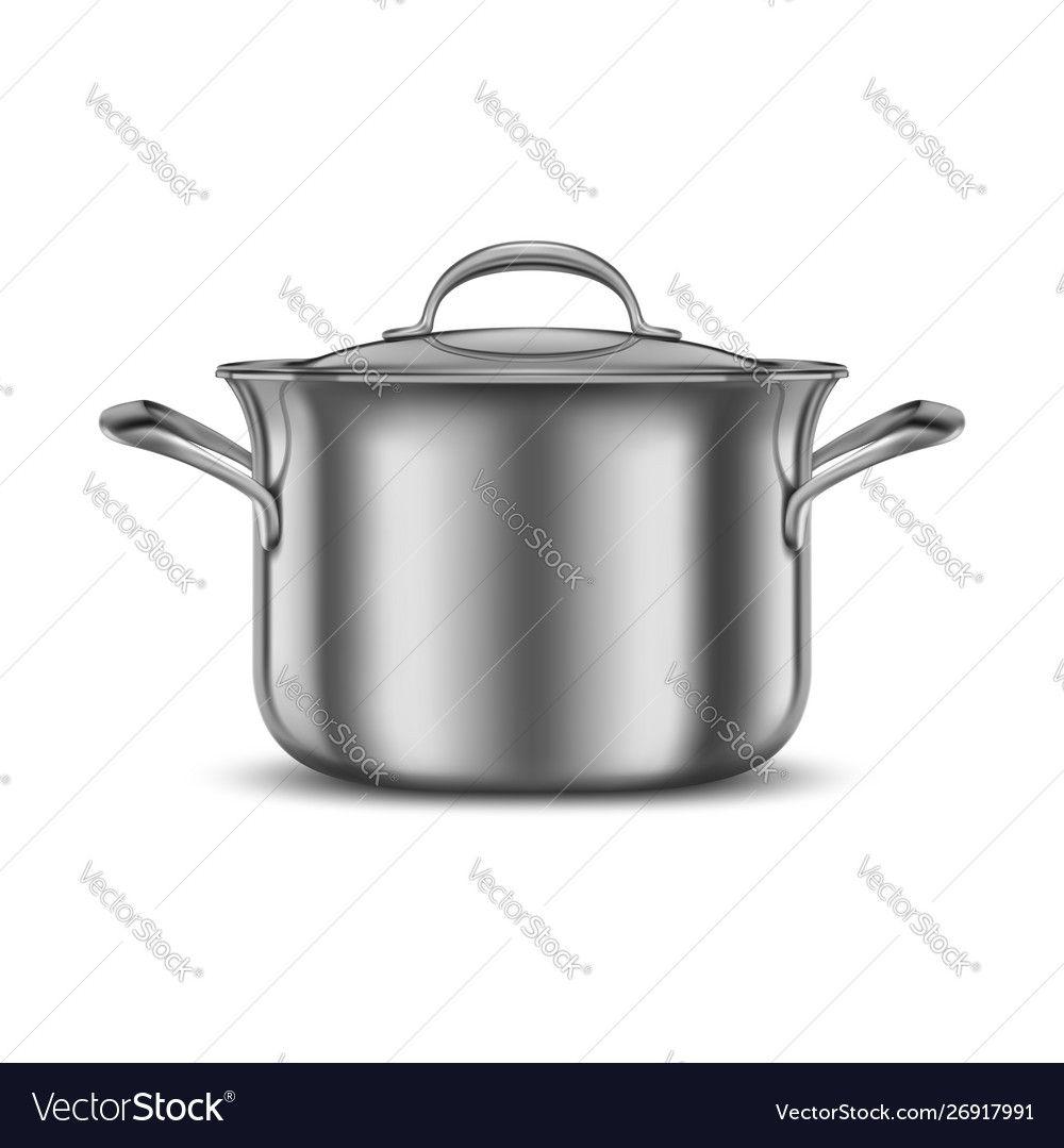 Stainless Steel Pan Metal Cooking Pot Vector Image On Vectorstock Stainless Steel Pans Cooking Pot Cooking