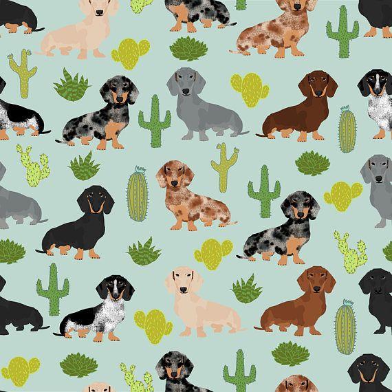 Dachshund Cactus Fabric Dachshund Cactus Fabric Cute Doxie Etsy Dog Wallpaper Dachshund Dog Dog Holiday