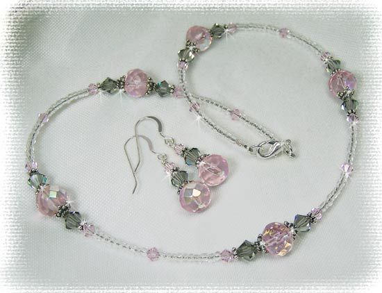 Beaded+Jewelry+Ideas | Beaded Jewelry   Pink Crystal Beaded Necklace Or Set  N244. Beaded Jewelry DesignsHandmade ...