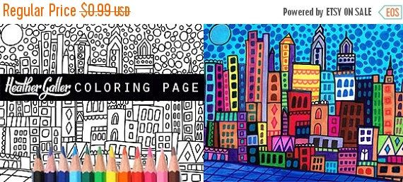 65 Off Philadelphia Skyline City Coloring Book Pages Adult Coloring Cityscape Printable Instant Download Coloring Book Pages Philadelphia Skyline Coloring Books