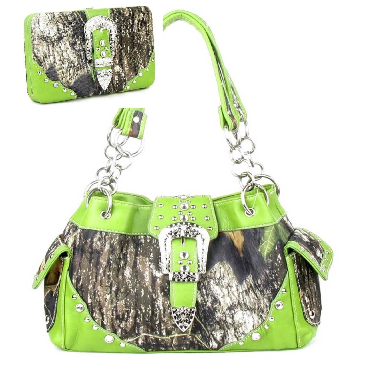 Handbags, Bling & More! Western Green Camouflage Buckle Rhinestone Purse W Matching Wallet : Matching Sets