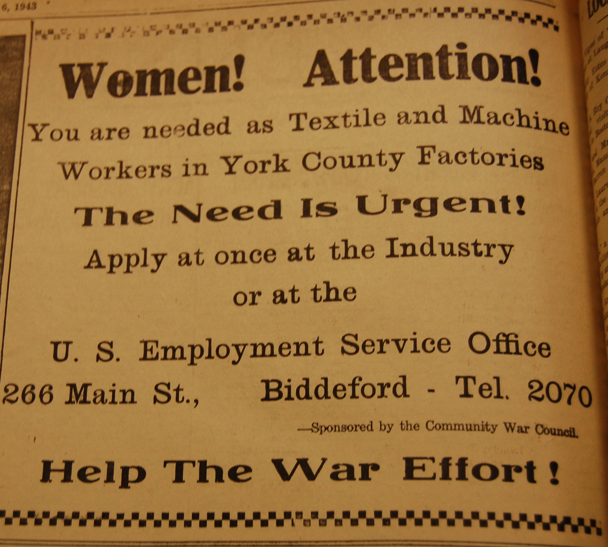 Newspaper ad calling Women to Work! Kennebunk Maine 1943