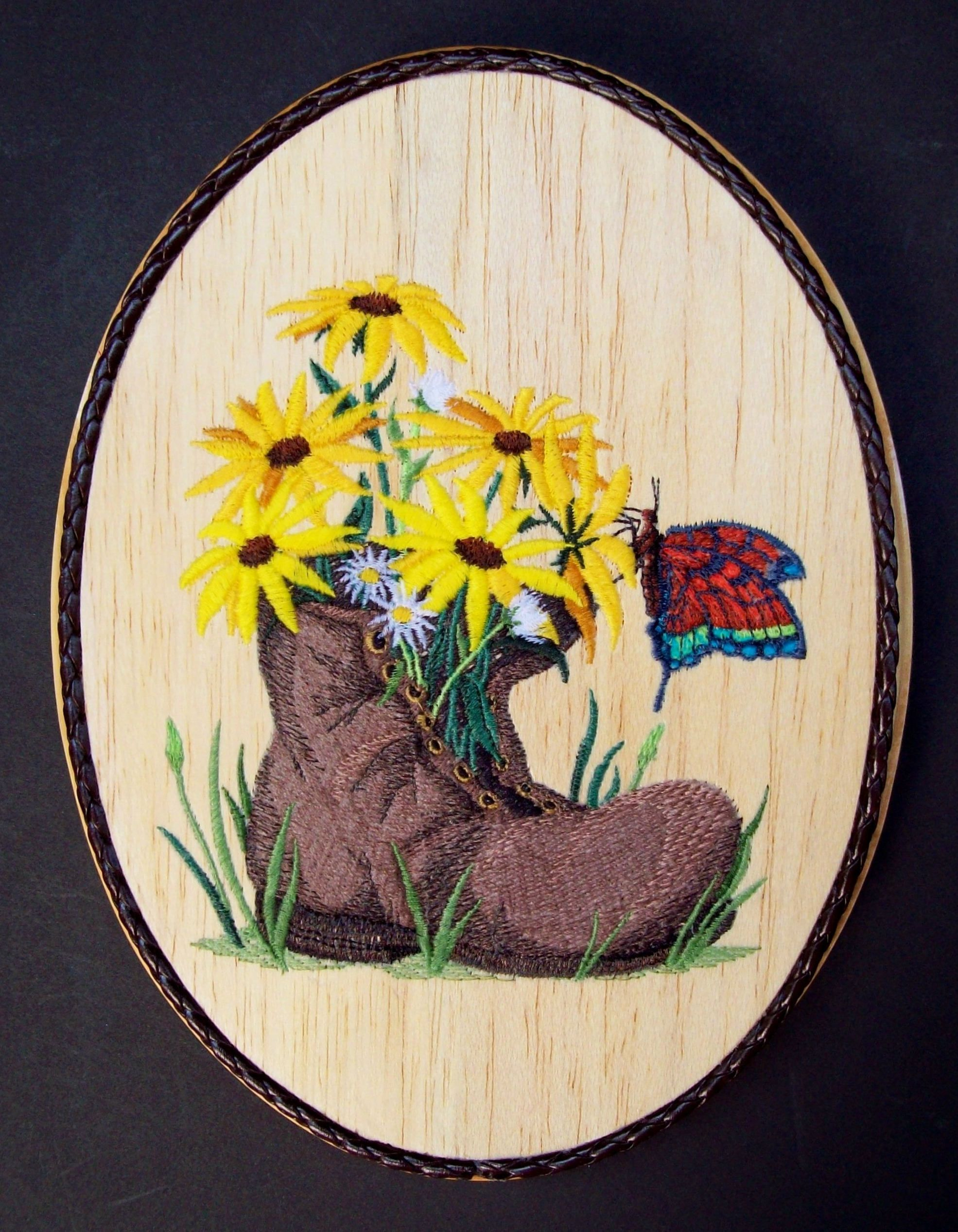 Garden Wall Decor, Boot Flower Pot Embroidery Wood Art, Country ...