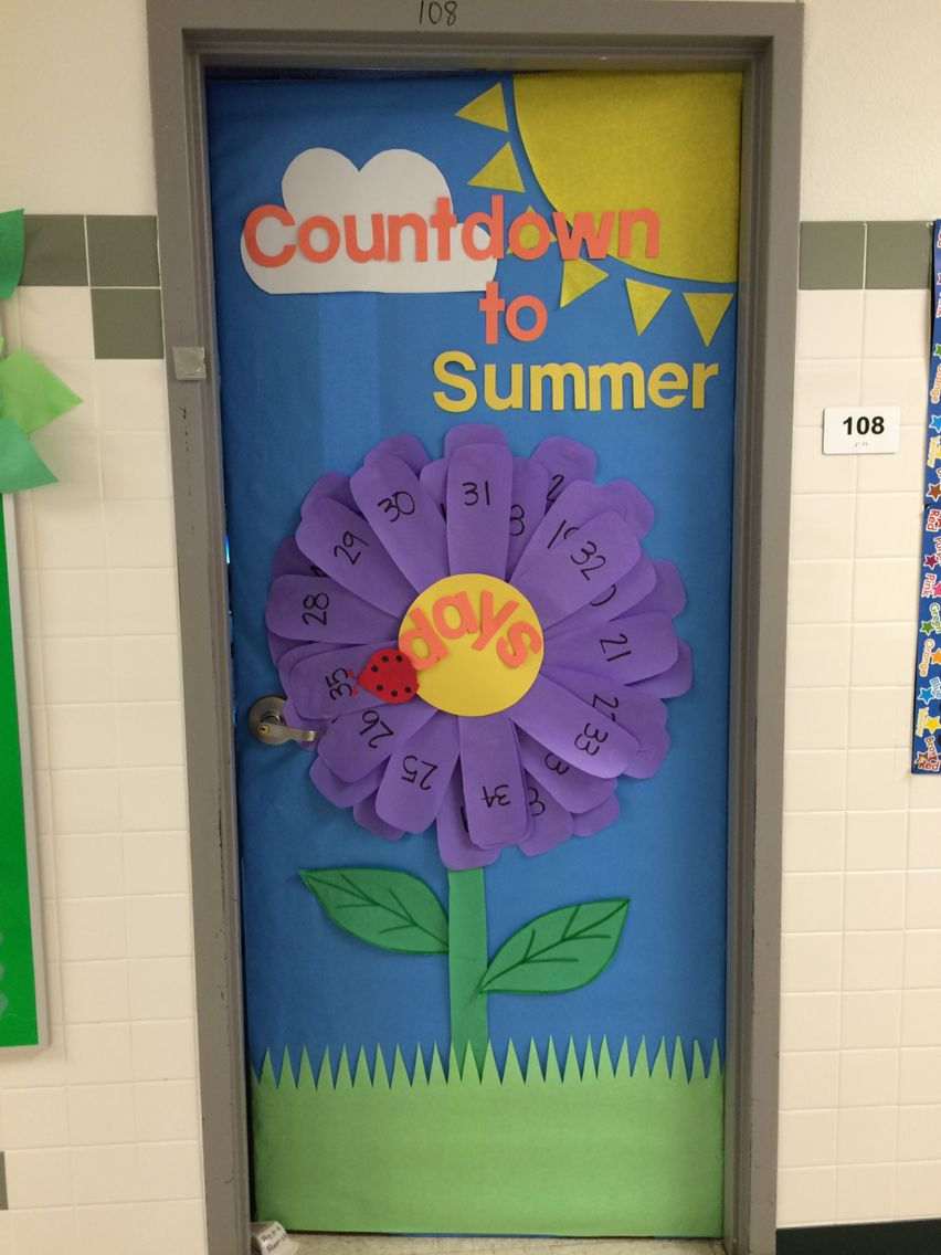 Summer Themed Classroom Decorations ~ Countdown to summer daisy flower door teacher stuff