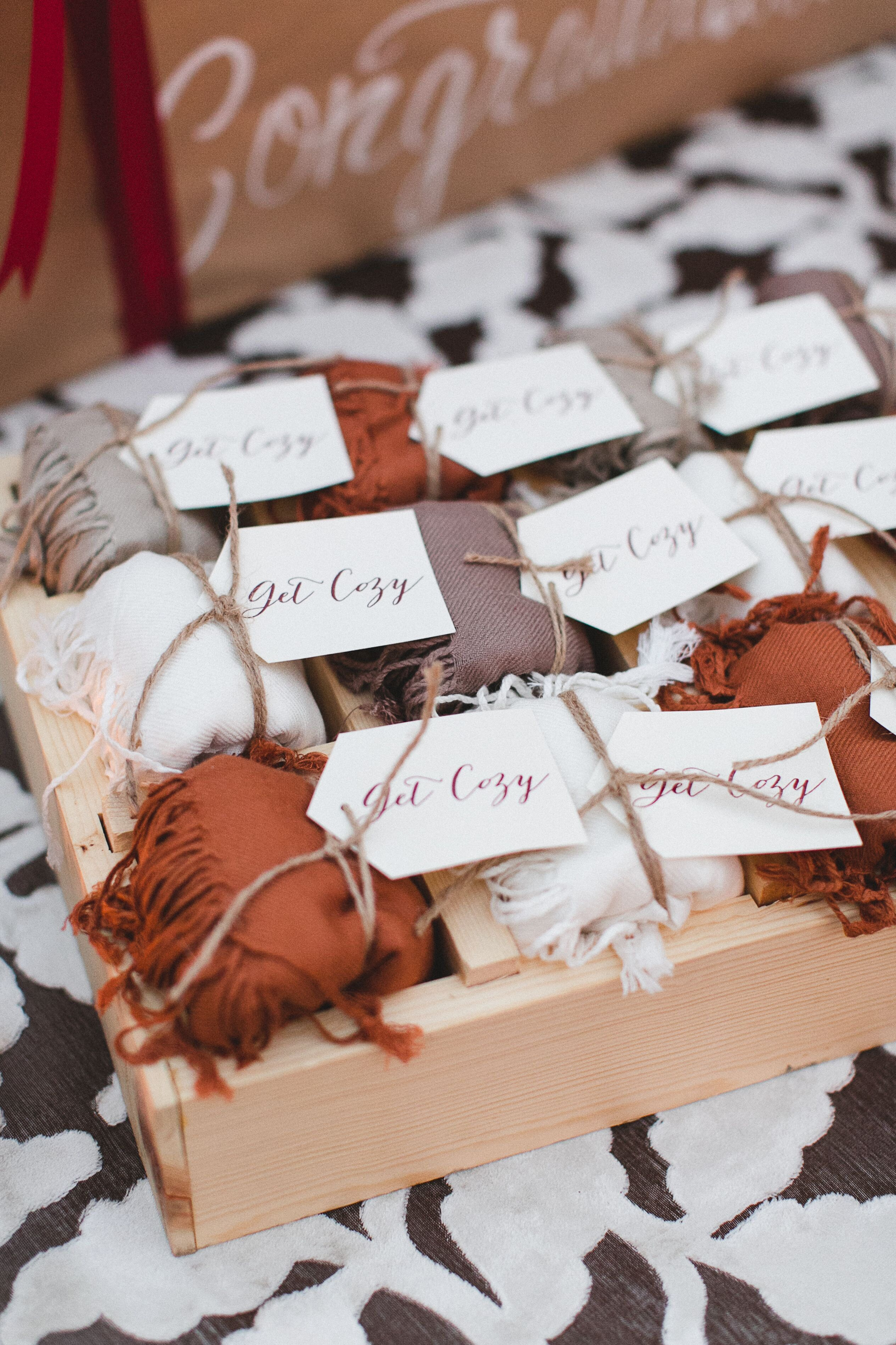 """""""Get Cozy"""" Scarf Assortment for Guests in 2020 Wedding"""
