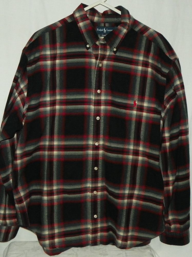 c893c4ff3 Polo Ralph Lauren LS Classic Fit Flannel Shirt Black Red Gray Mens Size 2XB  Big  PoloRalphLauren  ButtonFront