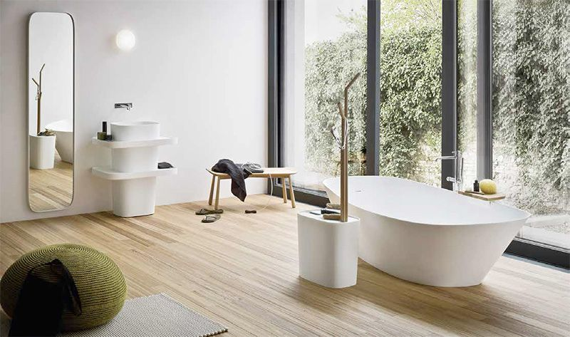 Corian and olmo wood for Fonte: bathroom collection inspired by Japanese philosophy Rexa Design Srl