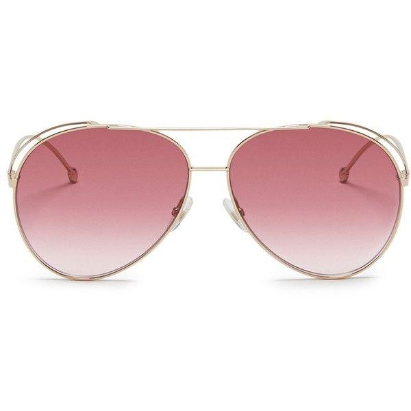 fc334a04a50a Fendi Cutout spoiler metal double bridge aviator sunglasses ($355) ❤ liked  on Polyvore featuring